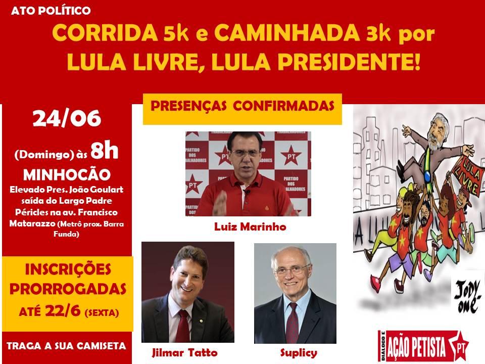 24/06 – Corrida 5 k e Caminhada Lula Livre
