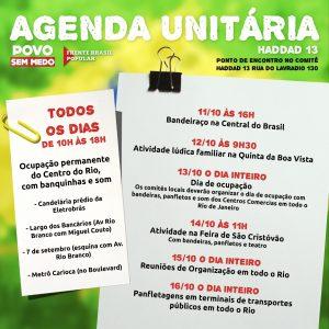 de 11/10 a 16/10 – Agenda Unificada / RJ