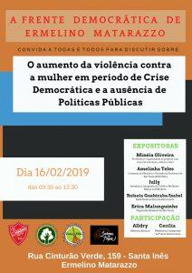 16/02 – Violência Contra Mulher. Plenária com A Frente Democrática de Ermelino Matarazzo