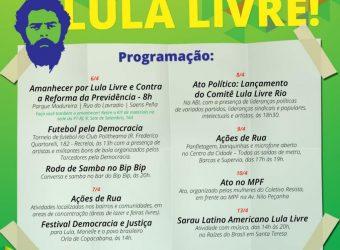 06, 07, 08, 10 e 14/04 – Programação Lula Livre