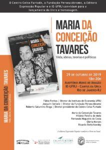 """29/10 – Lançamento do Livro """"Maria da Conceição Tavares"""" / RJ"""