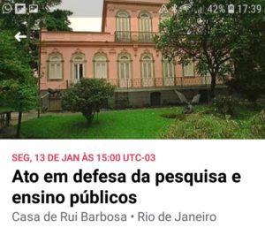 13/01 – Em Defesa da Pesquisa e Ensino Públicos / RJ