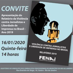 16/01 – Relatório da Violência contra Jornalistas e Liberdade de Imprensa / RJ