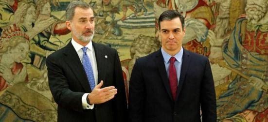 Pedro Sánchez presidente do governo da Espanha e rei Felipe VI
