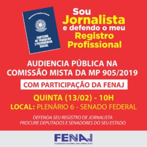 13/02 – Audiência Pública: Registro Profissional de Jornalista – DF
