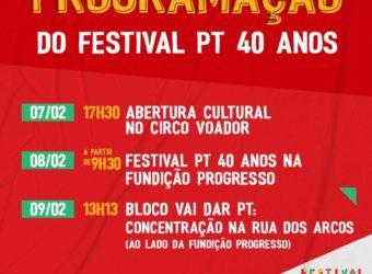 de 07 a 09/02 – Festival PT 40 Anos: Programação / RJ