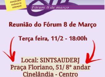 08/03 – Reunião do Fórum 8 de Março / RJ