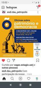 14/07 – Oficinas sobre Patrimônio e Democracia